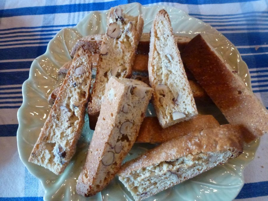 Biscotti baked on plate