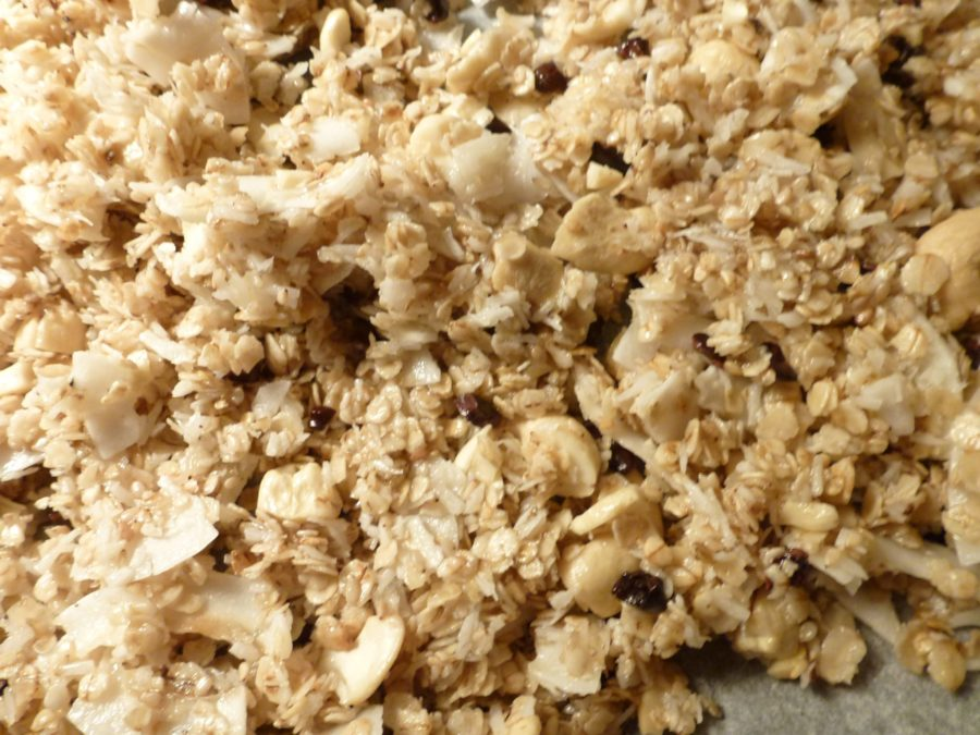 home made granola, with raw cacao nibs