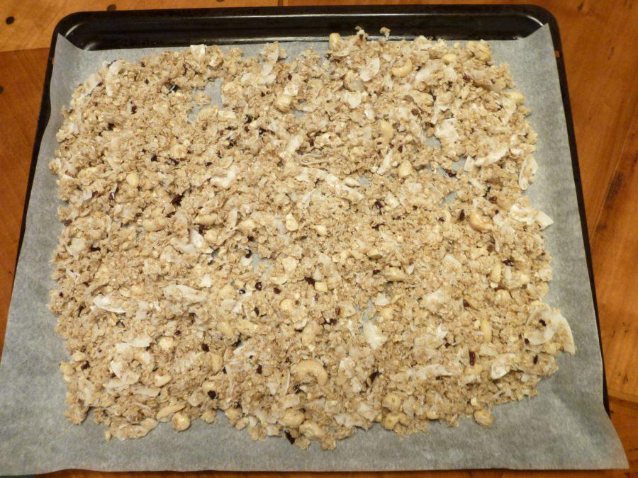 Mixed raw granola ready to bake