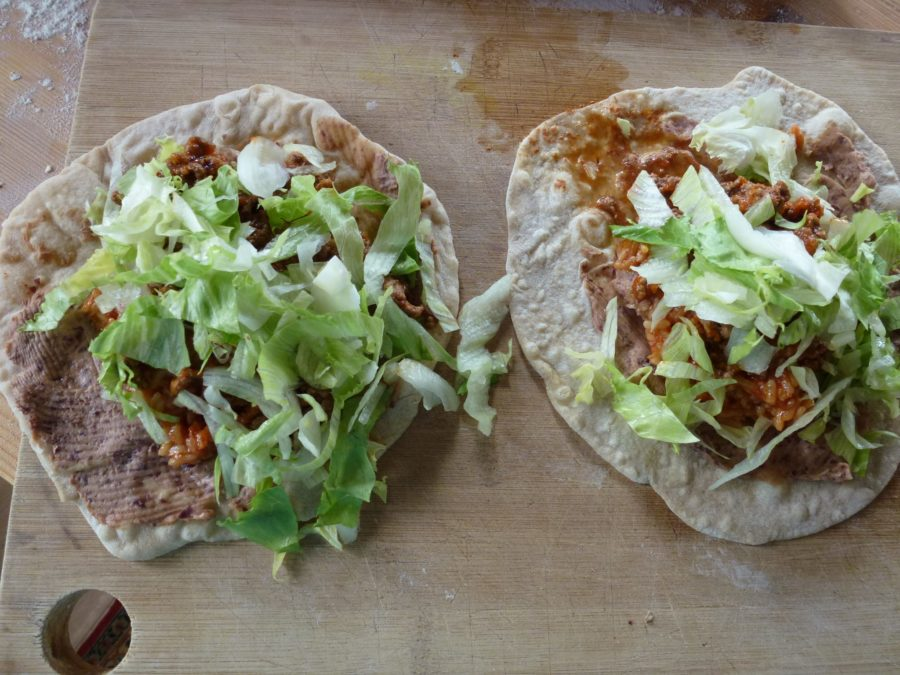 Tortilla with salad added
