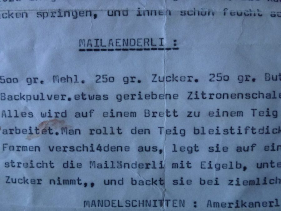 typewriter recipe of mailaenderli