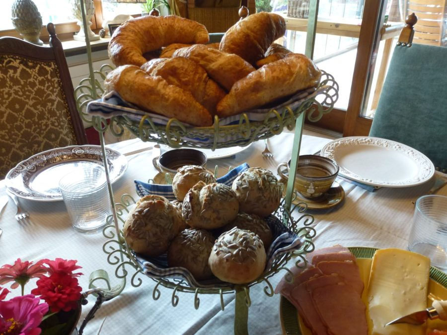 Sunday brunch with croissants and rolls