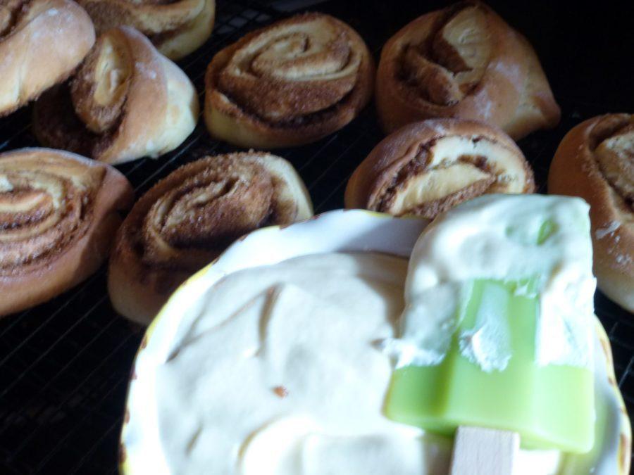 Cinnamon rolls ready for icing