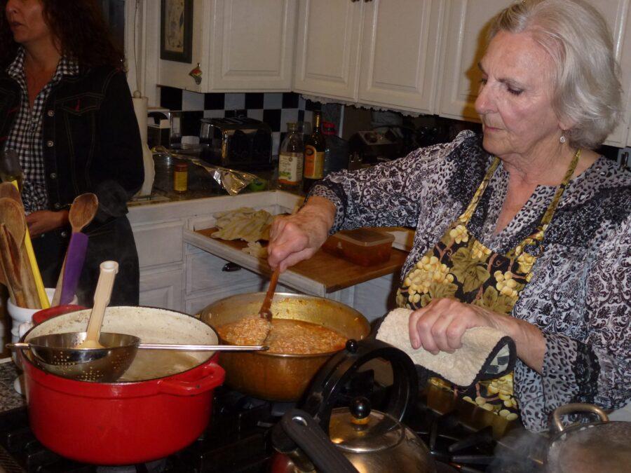 Nonna stirring the risotto