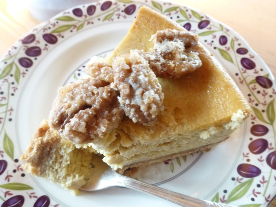 Pumpkin Cheesecake slice with candied Walnuts