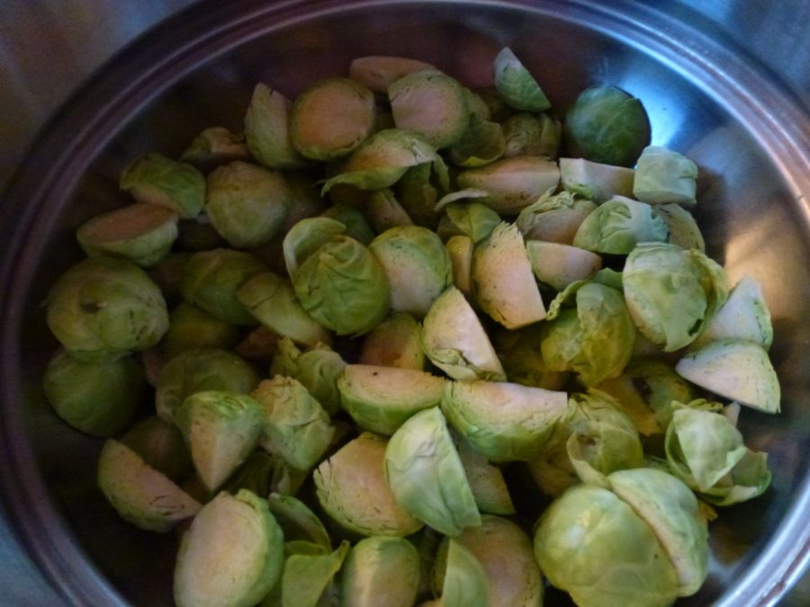 cleaned and sliced Brussels sprout