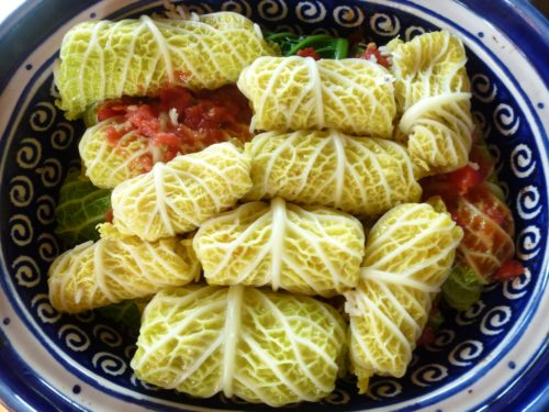 poured over tomato sauce over cabbage rolls