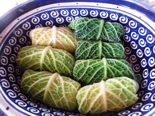 Vegetarian Savoy Cabbage Rolls in a dish