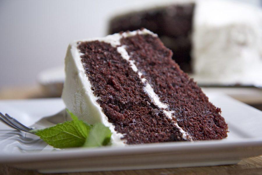 devils food cake cut piece