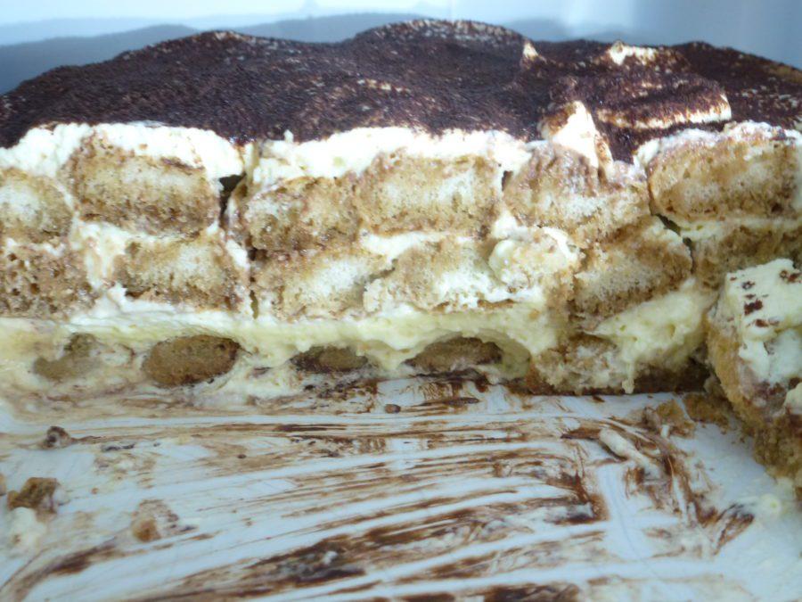 Tiramisu showing the layers
