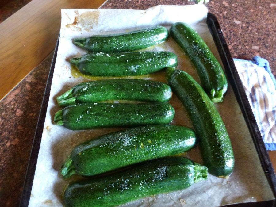 cored zucchini face down