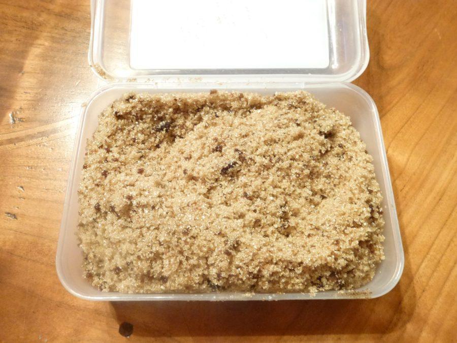 Homemade brown sugar in box