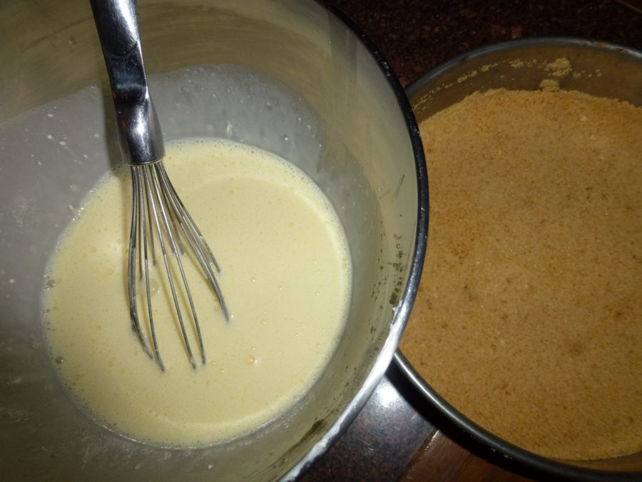 cheese cake mix, ready to pour over base