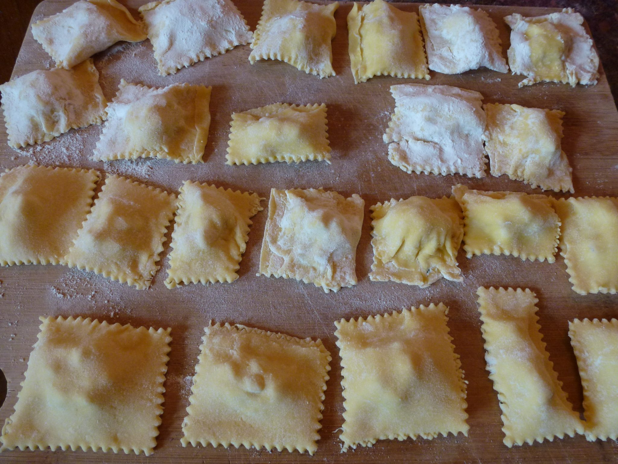home made Raviolis lined up