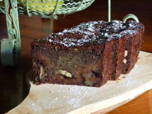 persimmon and walnut bread on plate