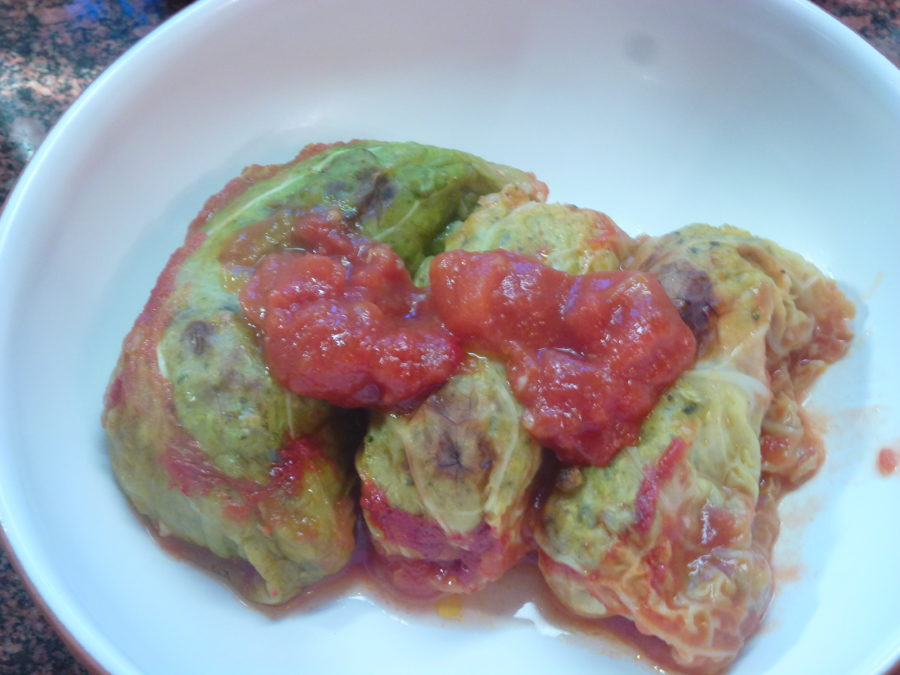 Vegan cabbage rolls filled with broccoli rice