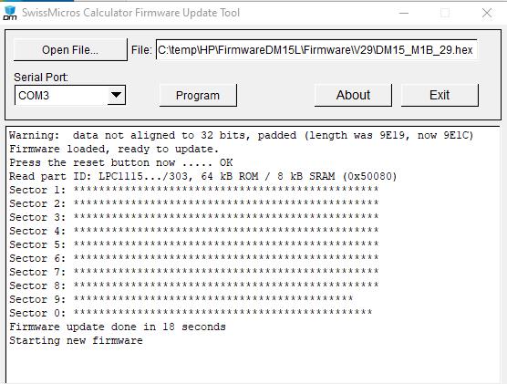 SwissMicros DM15L Strumento di aggiornamento del firmware Windows