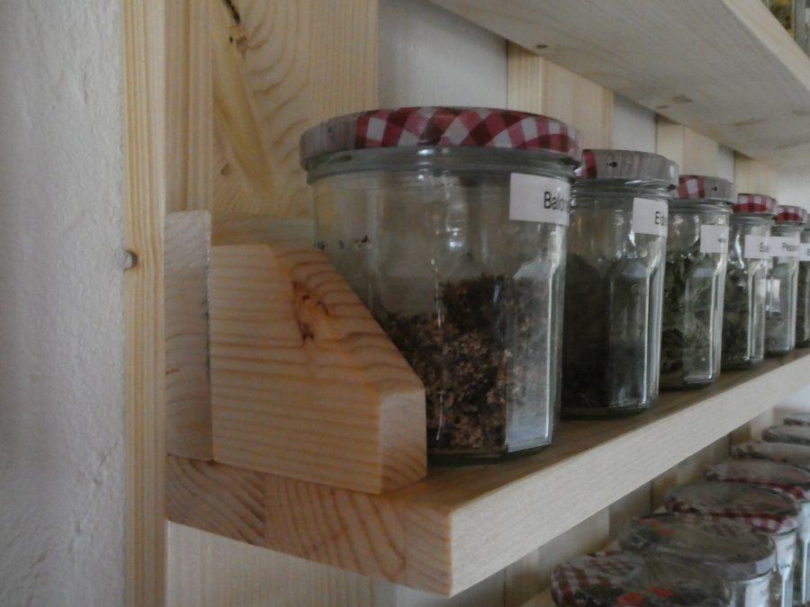 Detail of tea shelf