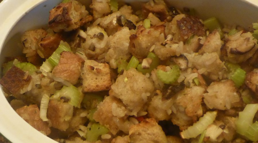 baked stuffing in serving dish