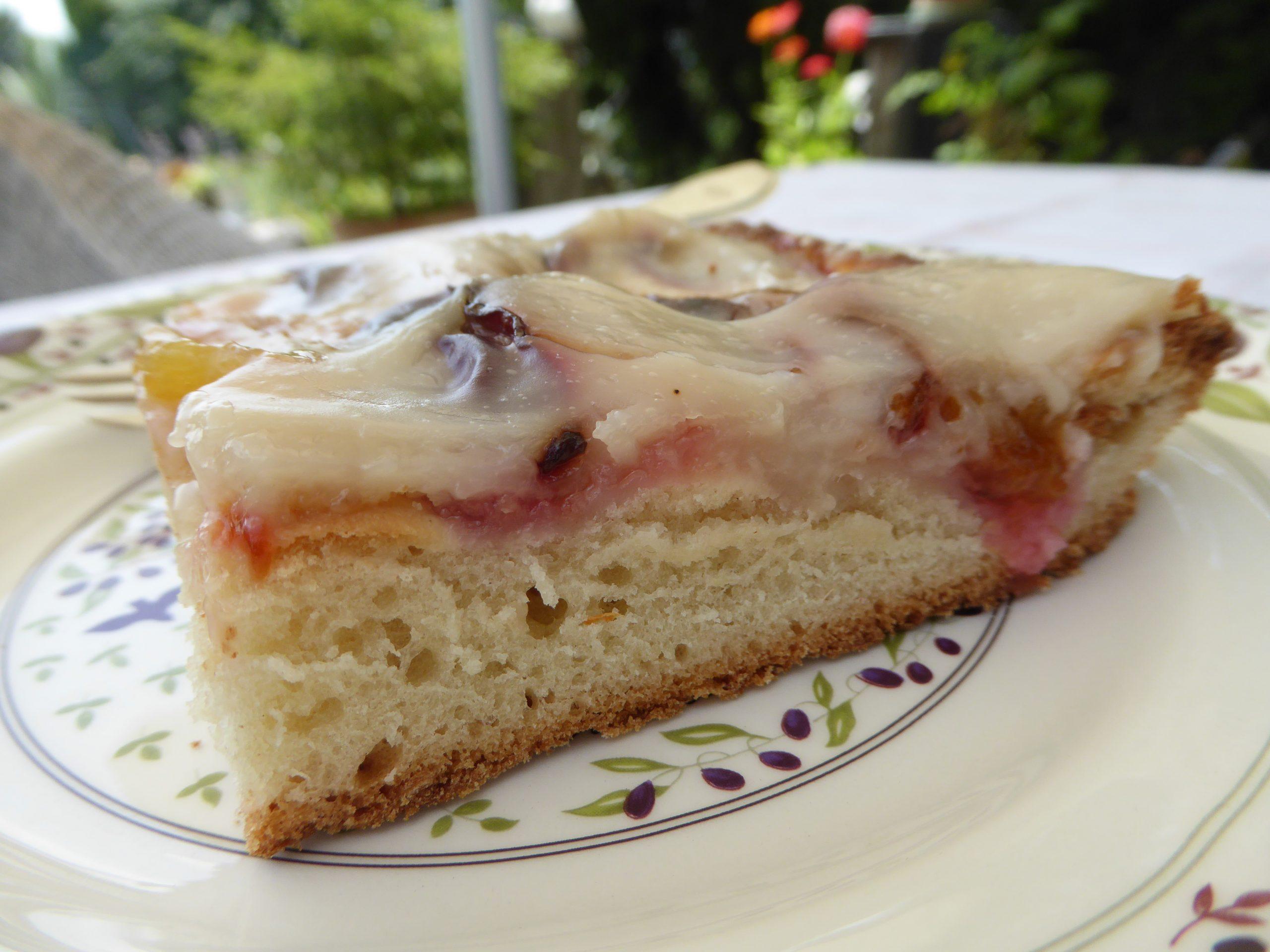 Piece of vegan Italian plum cake