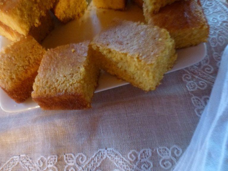 Corn Bread cut from the tin pan