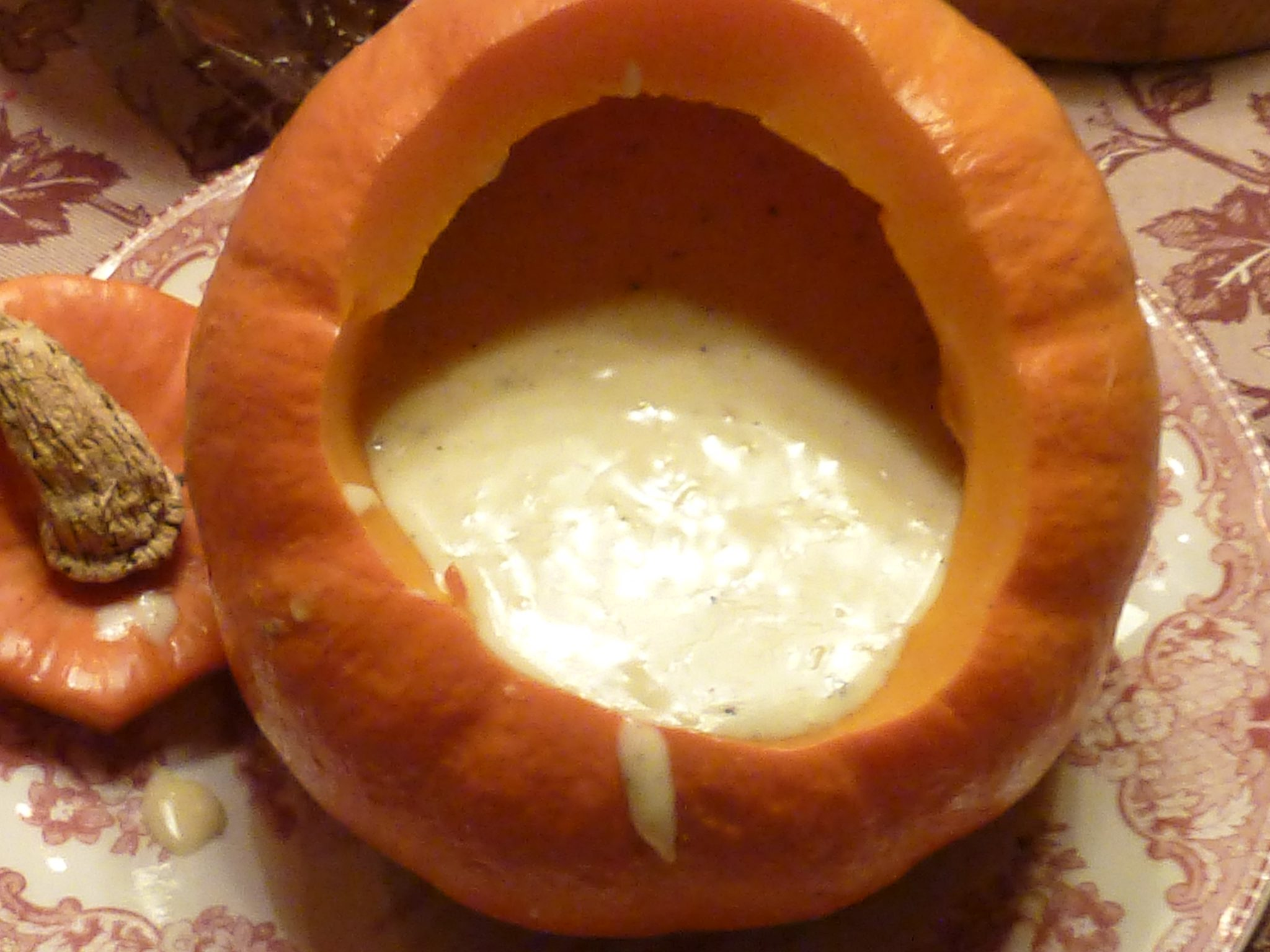 Real pumpkin with melted cheese