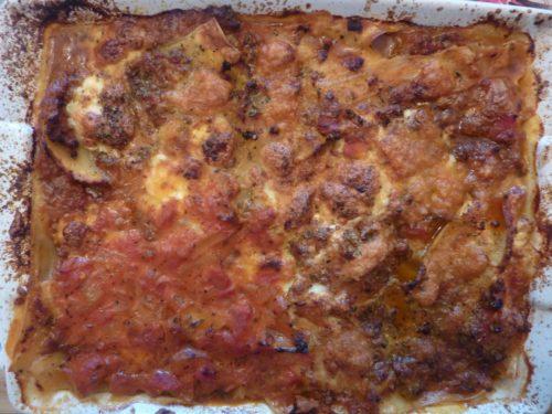 Lasagna - Lasaña después de la cocción